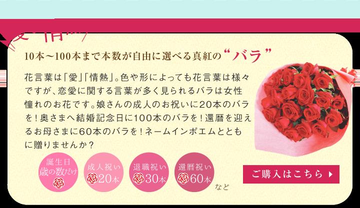 """10本〜100本まで本数が自由に選べる真紅の""""バラ"""""""